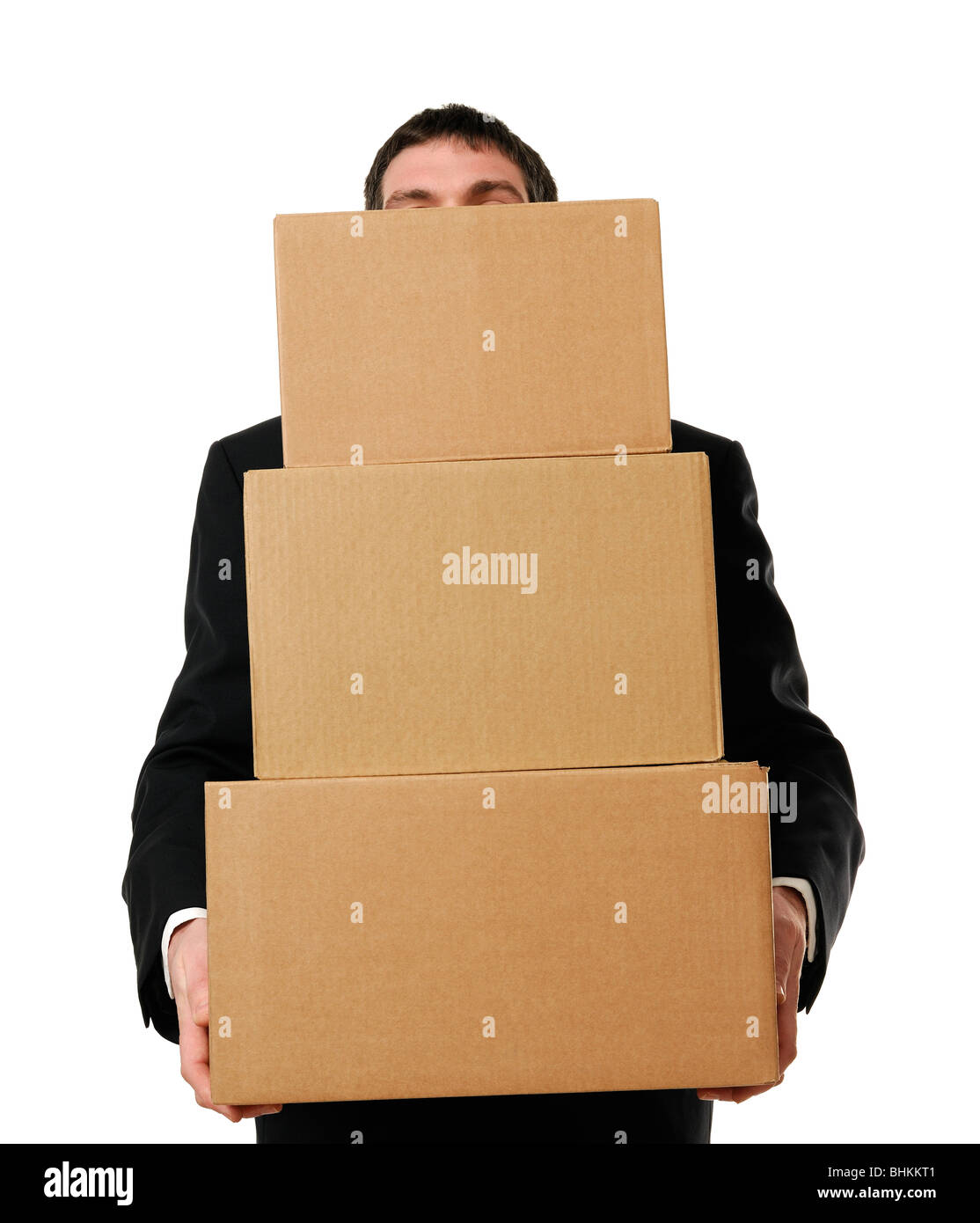 Businessman Overloaded with Boxes - Stock Image