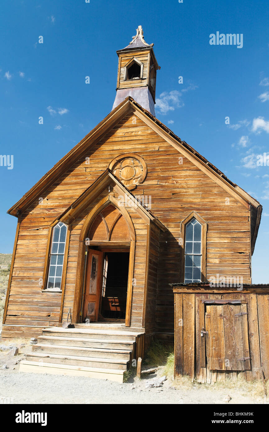 Low Angle View of the Methodist Church, Bodie State Historic Site, California - Stock Image