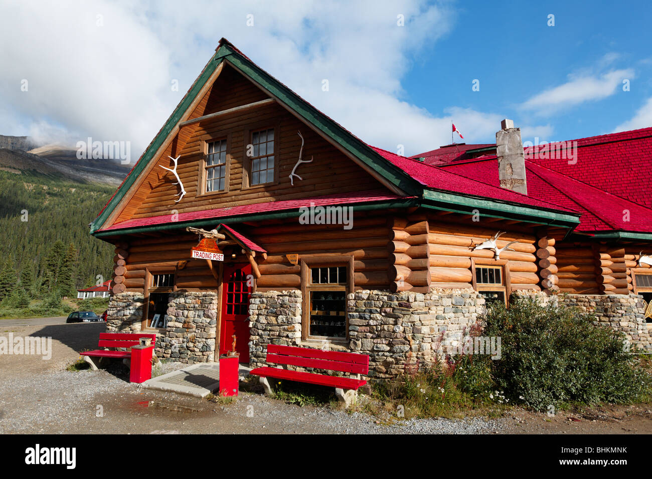 Close Up View of a Lodge, Num Ti Jah Lodge, Bow Lake, Banff National Park, Alberta, Canada - Stock Image
