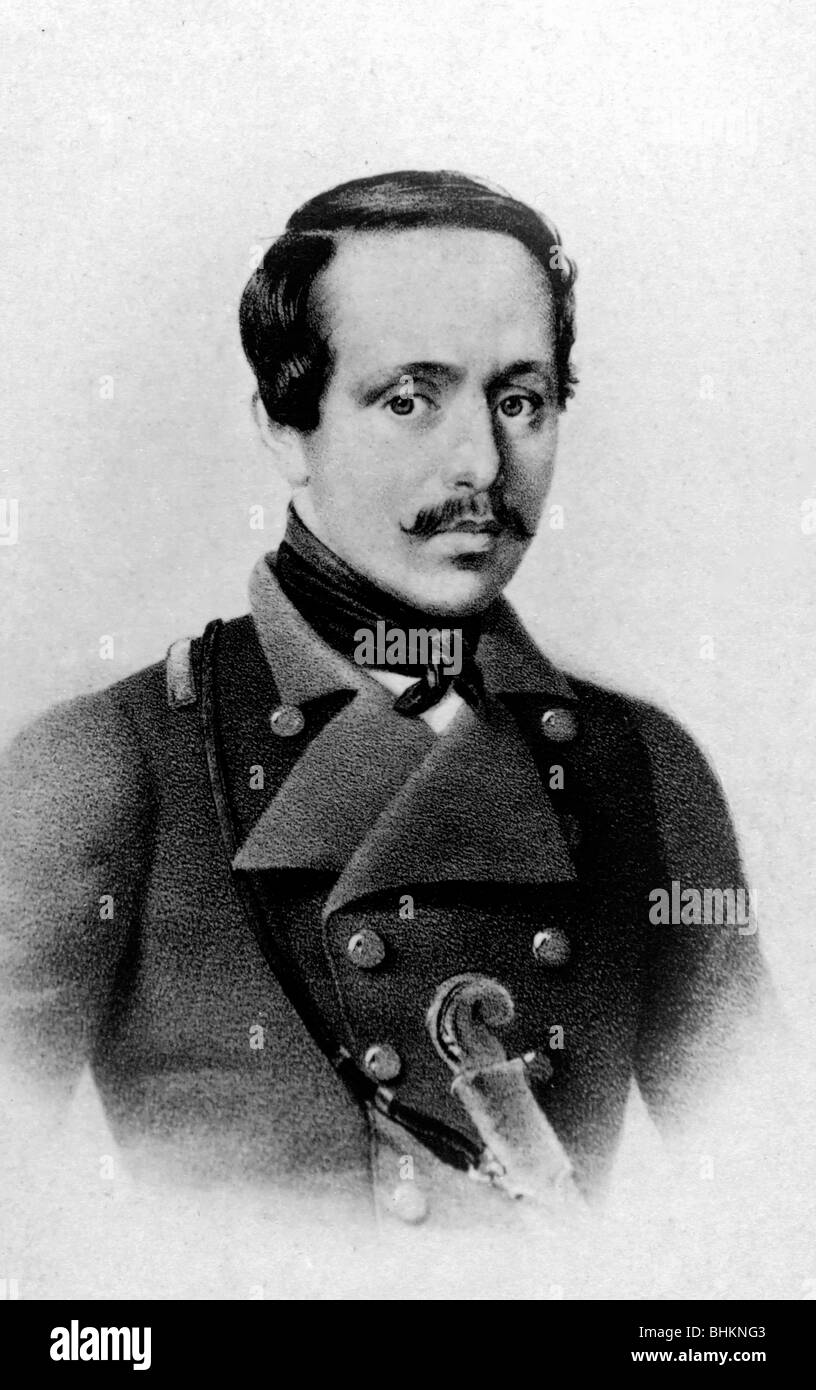 Mikhail Lermontov (1814-1841), half-length portrait, facing front - Stock Image