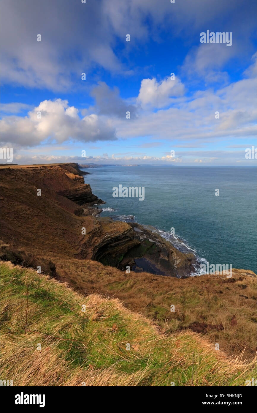 Filey Brigg natural rock promontory and beach from the Yorkshire Wolds Way, Filey, North Yorkshire, England, UK. - Stock Image