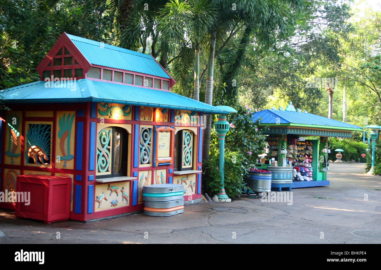 Vending Huts at Expedition Everest, Asia, Animal Kingdom WDW Orlando Florida - Stock Image