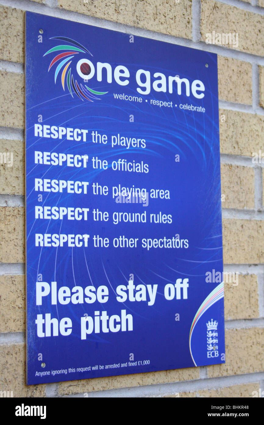 An E.C.B. One Game Respect sign at a cricket ground in the U.K. - Stock Image