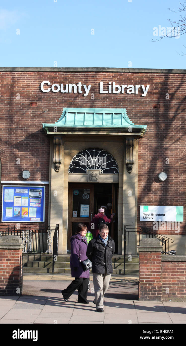 A County Library in a U.K. town. - Stock Image