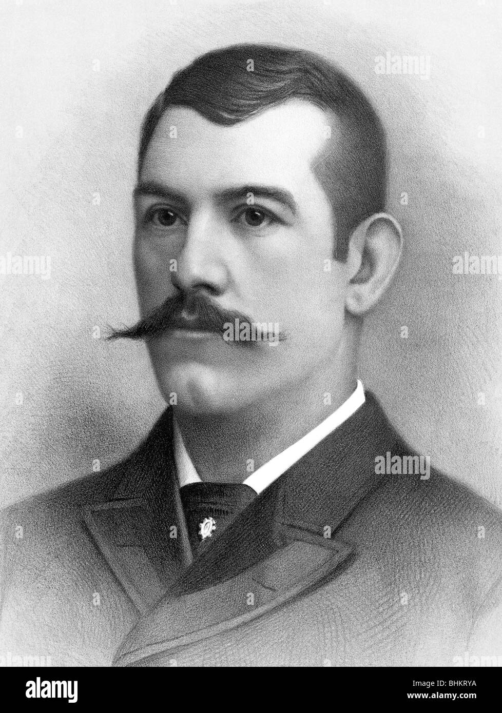 Portrait c1880s of John L Sullivan (1858 - 1918) -  first heavyweight champion of gloved boxing + last bare knuckle - Stock Image
