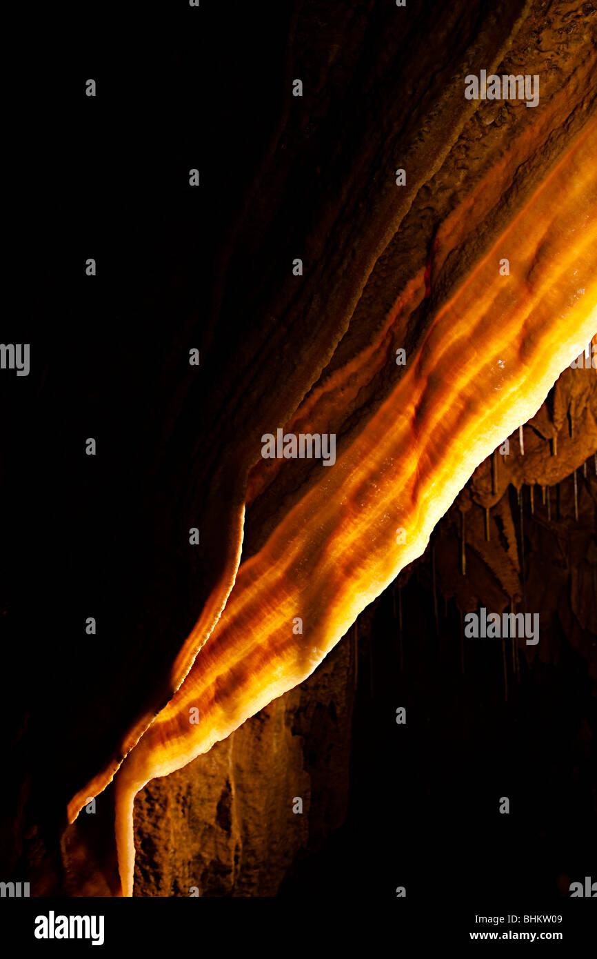 Calcite curtain in Natural Bridge Caverns Texas USA Stock Photo