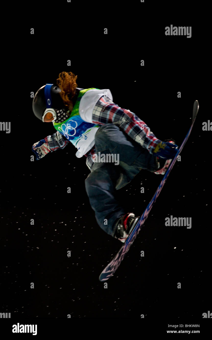 Shaun White (USA), wins the gold medal in the Men's Snowboard Halfpipe event at the 2010 Olympic Winter Games - Stock Image