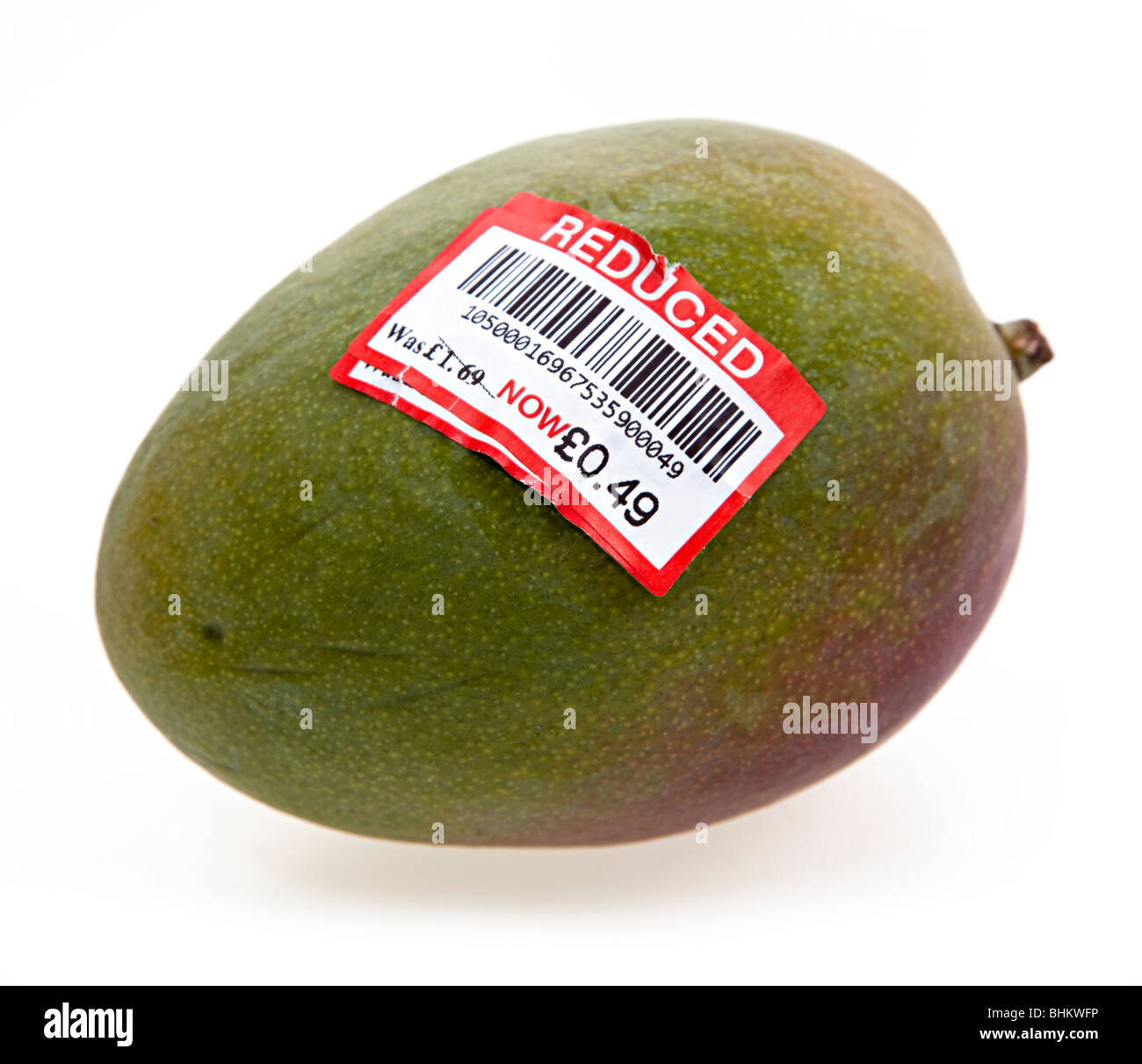 Mango with reduced price barcode and sticker price UK - Stock Image