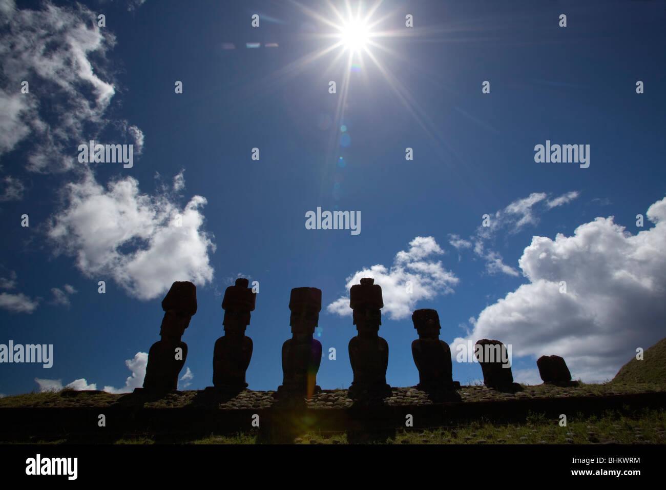 Moai on [Ahu Nau Nau, Rapa Nui or Easter Island UNESCO World Heritage Site, Chile - Stock Image