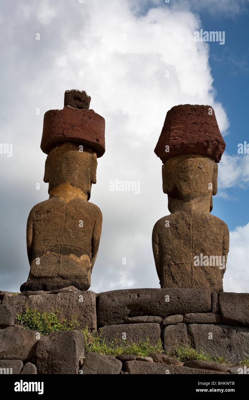 Moai on Rapa Nui or Easter Island UNESCO World Heritage Site, Chile, Ahu Nau Nau - Stock Image