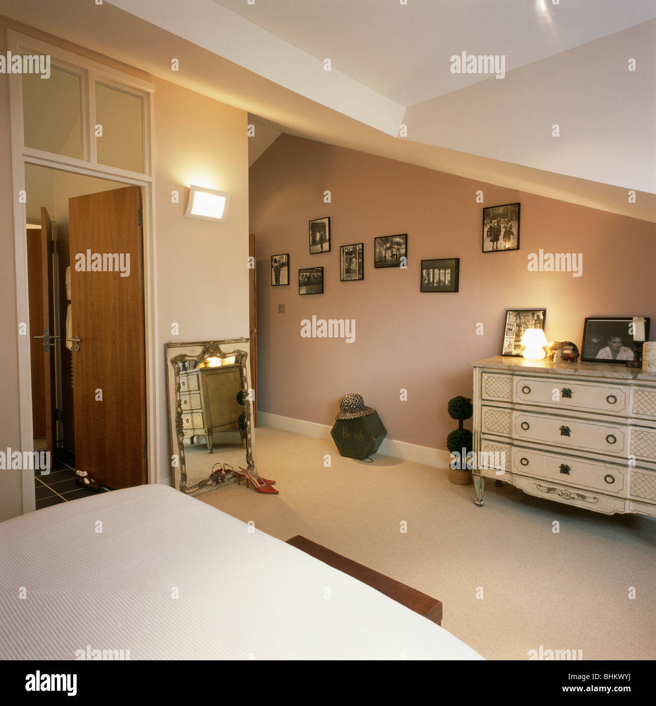 Cream Carpet In Beige Townhouse Bedroom With Cream Painted
