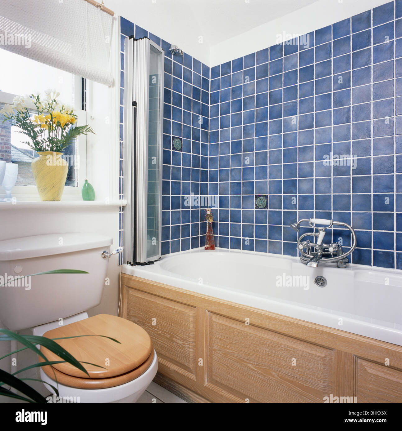Small white economy-style bathroom with blue wall tiles above bath ...