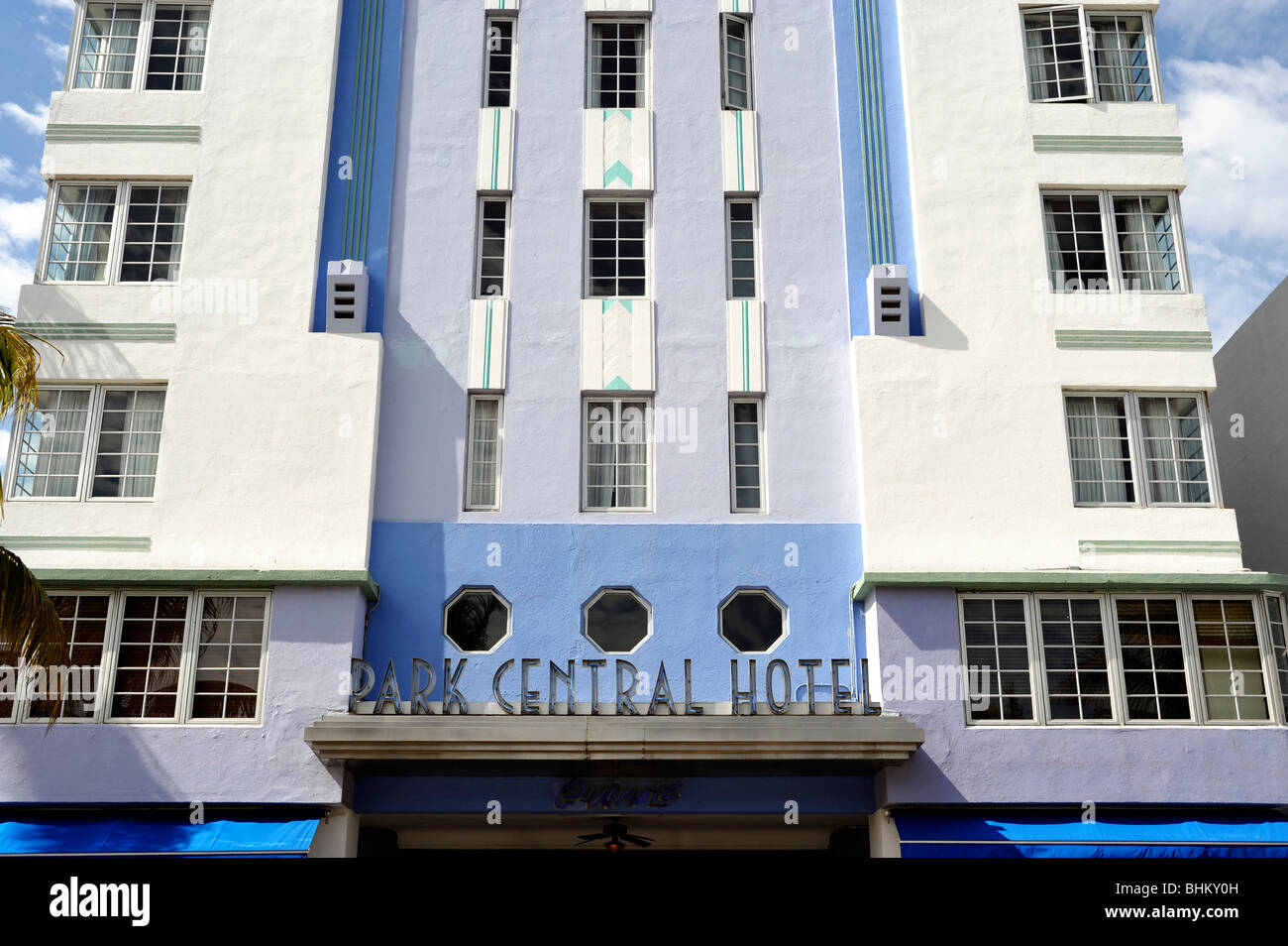 Detail of The Park Central Hotel, Art Deco District, South Beach, Miami Beach, FL, USA - Stock Image