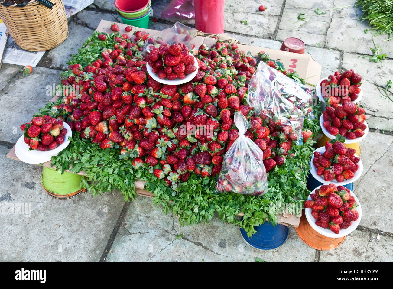 enticing grouping of delicious fresh strawberries artfully arranged for sale on pavement at Ocotlan market Oaxaca - Stock Image