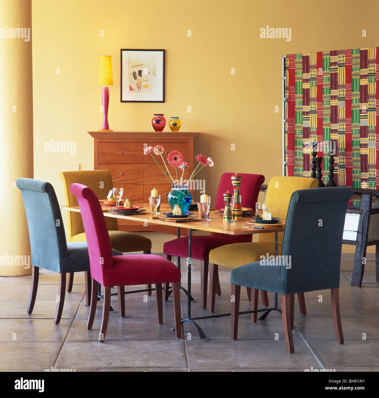 Pink Turquoise And Blue Velour Upholstered Dining Chairs At Table In Modern Yellow Room With Multi Colored Screen