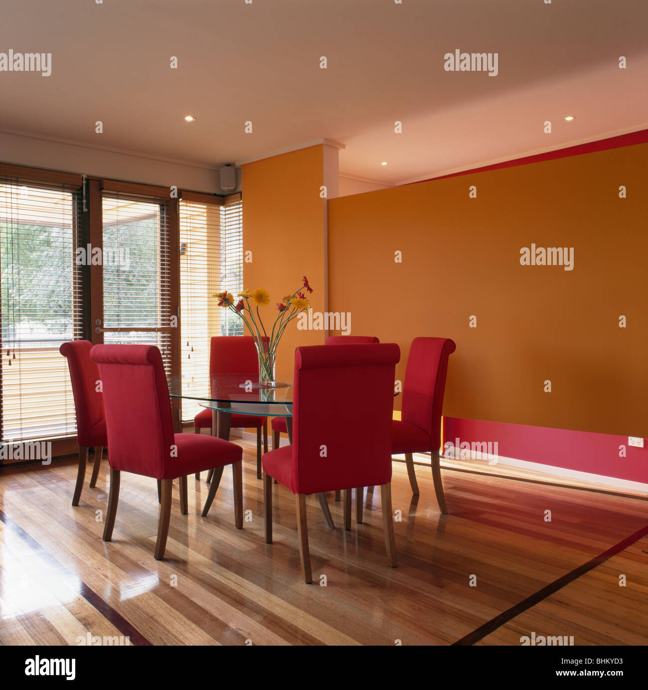 Red upholstered chairs in modern orange dining room with striped wooden flooring Stock Photo