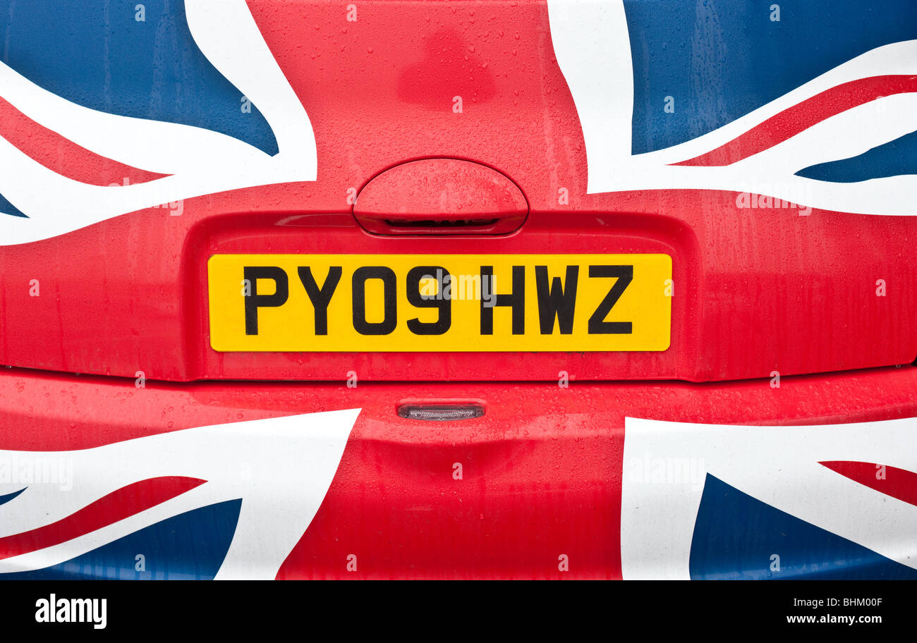 A British-made Nissan Micra painted in a Union Jack - Stock Image