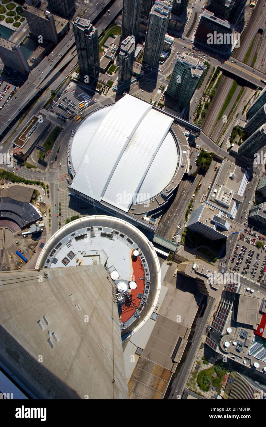 Rogers Centre and CN Tower in Toronto - Stock Image
