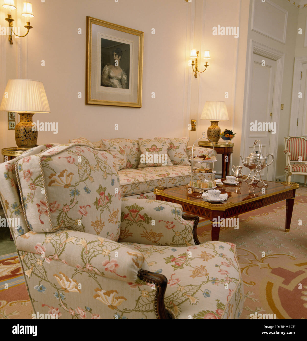 Fantastic Floral Armchair And Sofa In Townhouse Drawing Room With Gmtry Best Dining Table And Chair Ideas Images Gmtryco