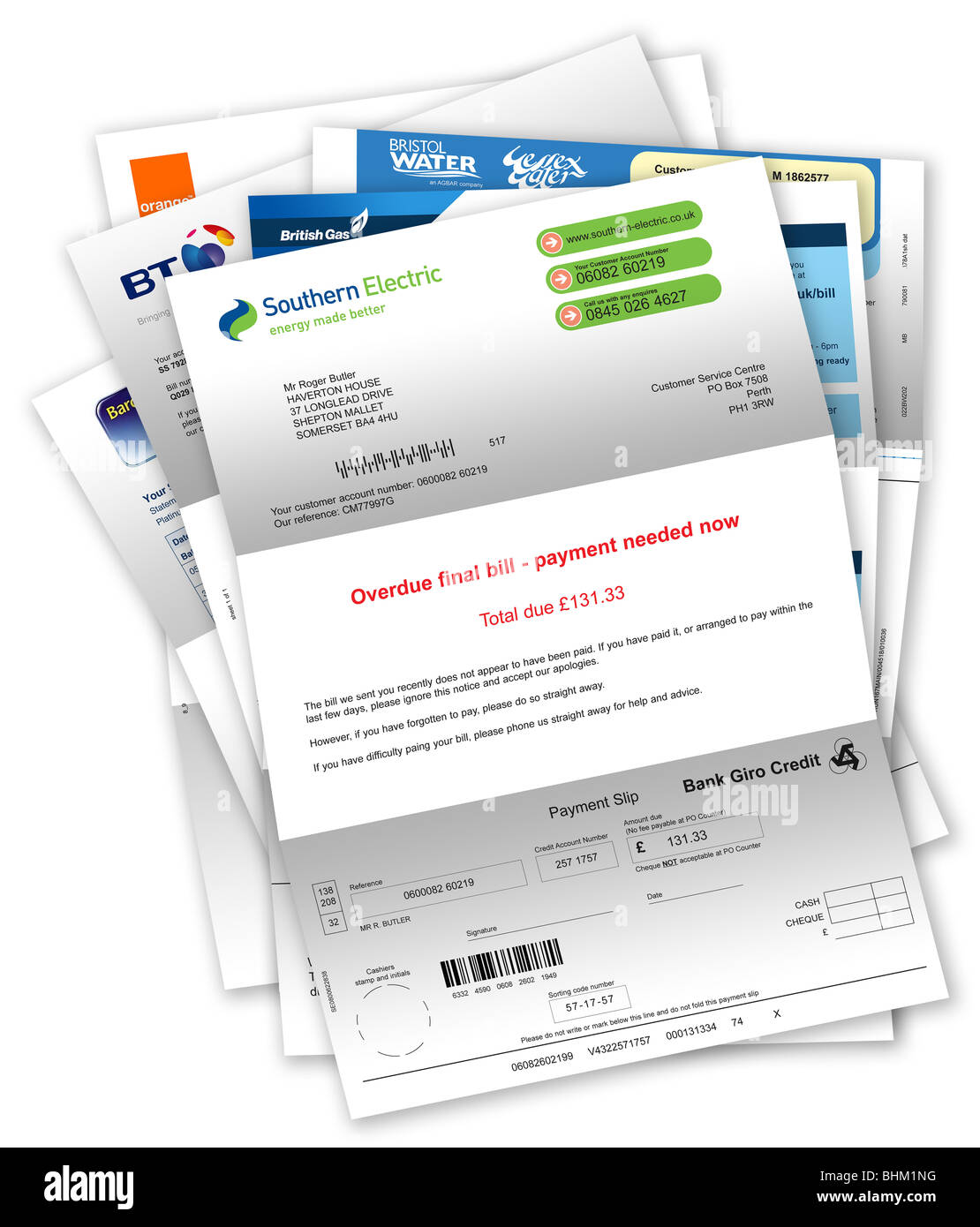 Final Demand Overdue Payment Letter For Unpaid Electricity Bill With Other Household Bills Beneath
