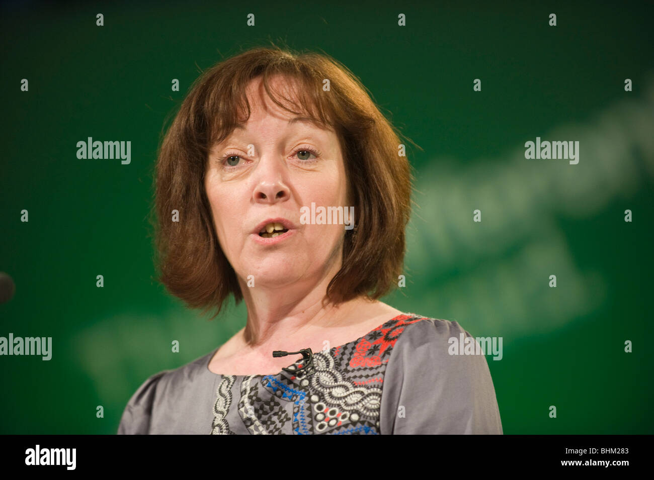 Jill Evans MEP Plaid Cymru addressing the party's 2010 Spring Conference, Cardiff, South Wales, UK Stock Photo