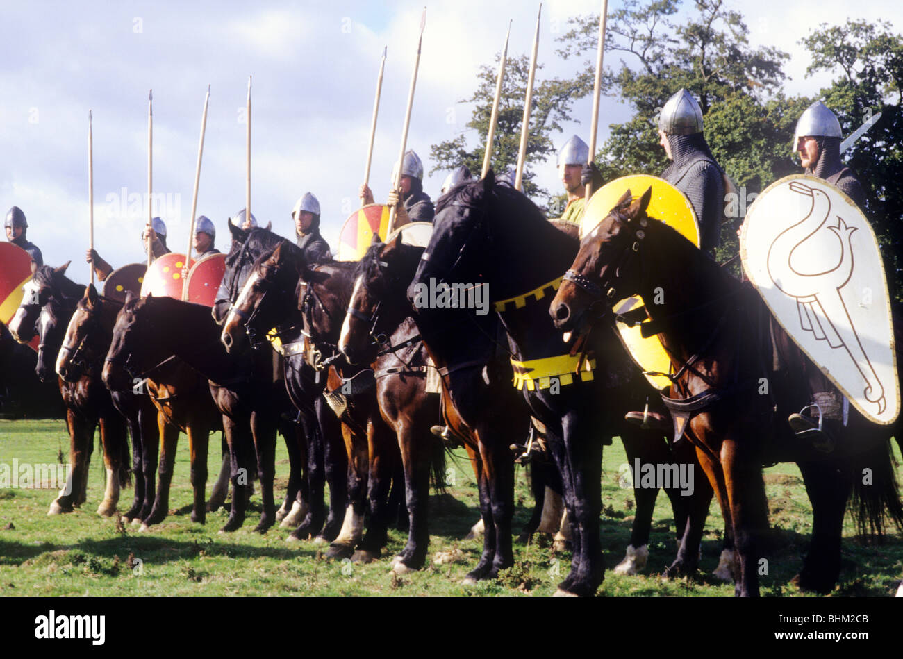 Mounted Norman Knights Cavalry, Battle of Hastings Historical re-enactment Sussex England UK English British history - Stock Image