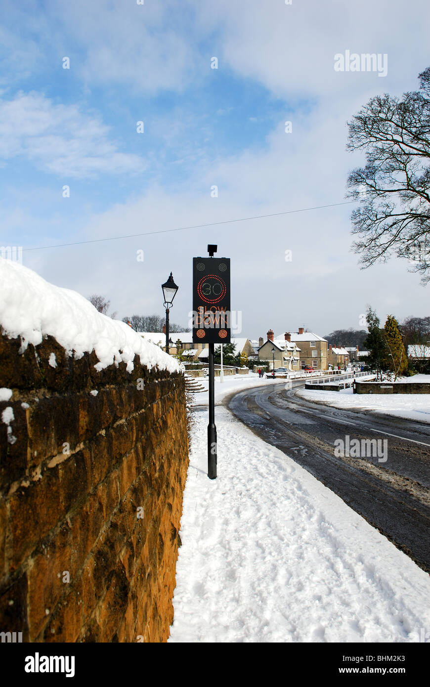 30mph Road sign Warning Linby Village Nottinghamshire. - Stock Image