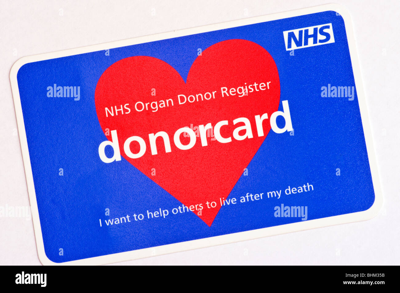 NHS Organ Donor Register Donorcard - Stock Image