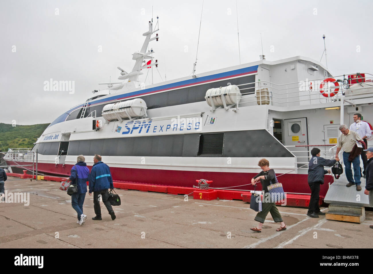 The SPM Express Atlantic Jet ferry (a fast catamaran) serves the route between Fortune, Newfoundland and St Pierre - Stock Image