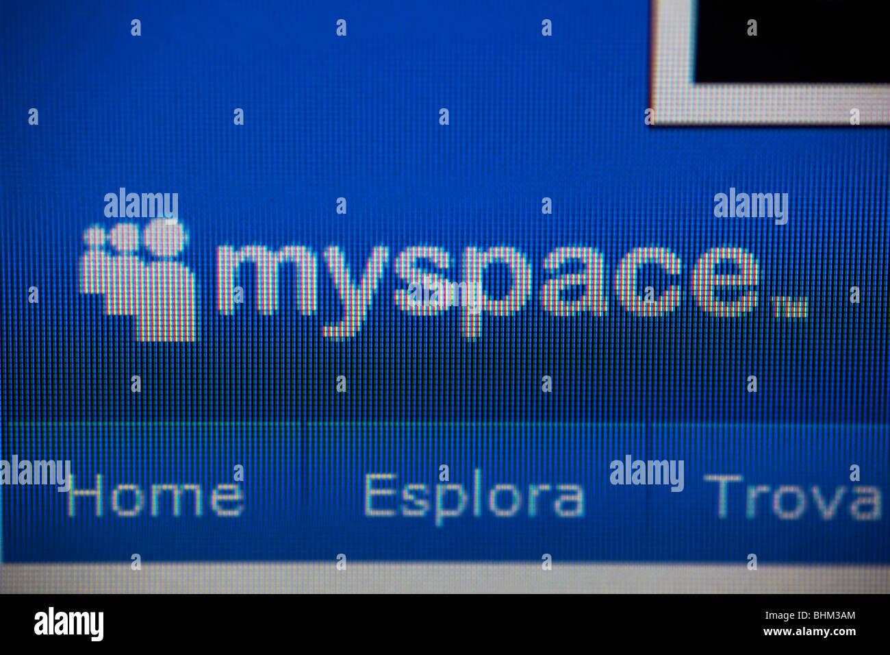 Myspace homepage screenshot closeup - Stock Image
