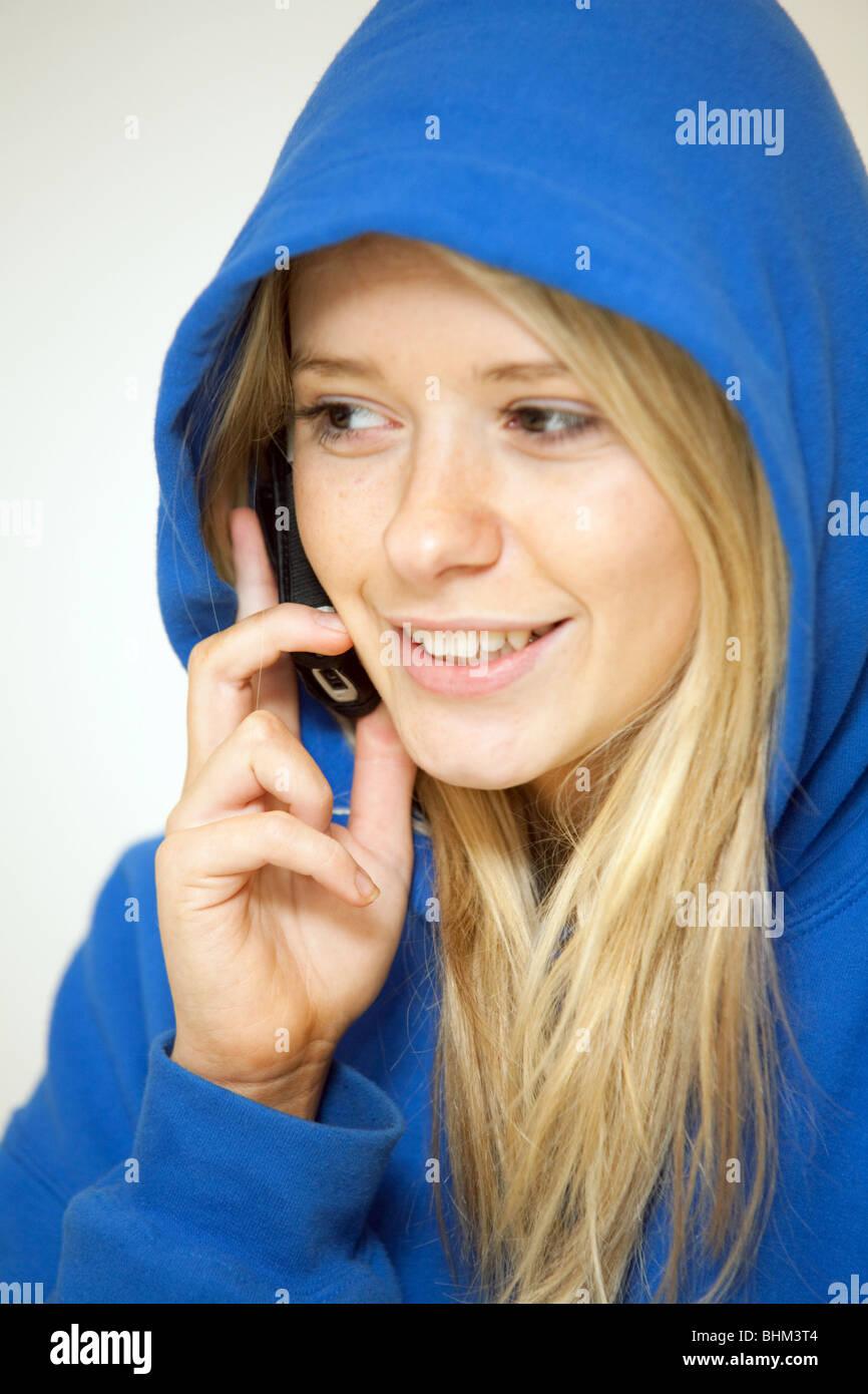 Blonde teen girl hoodie
