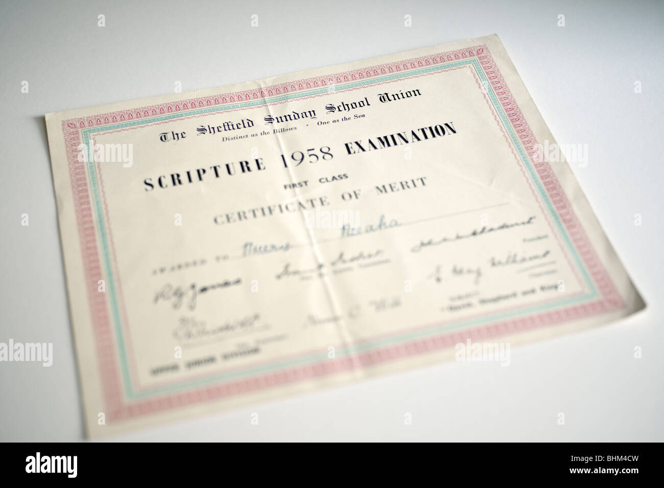 Sheffield Sunday school Union scripture examination certificate of merit from 1958 - Stock Image