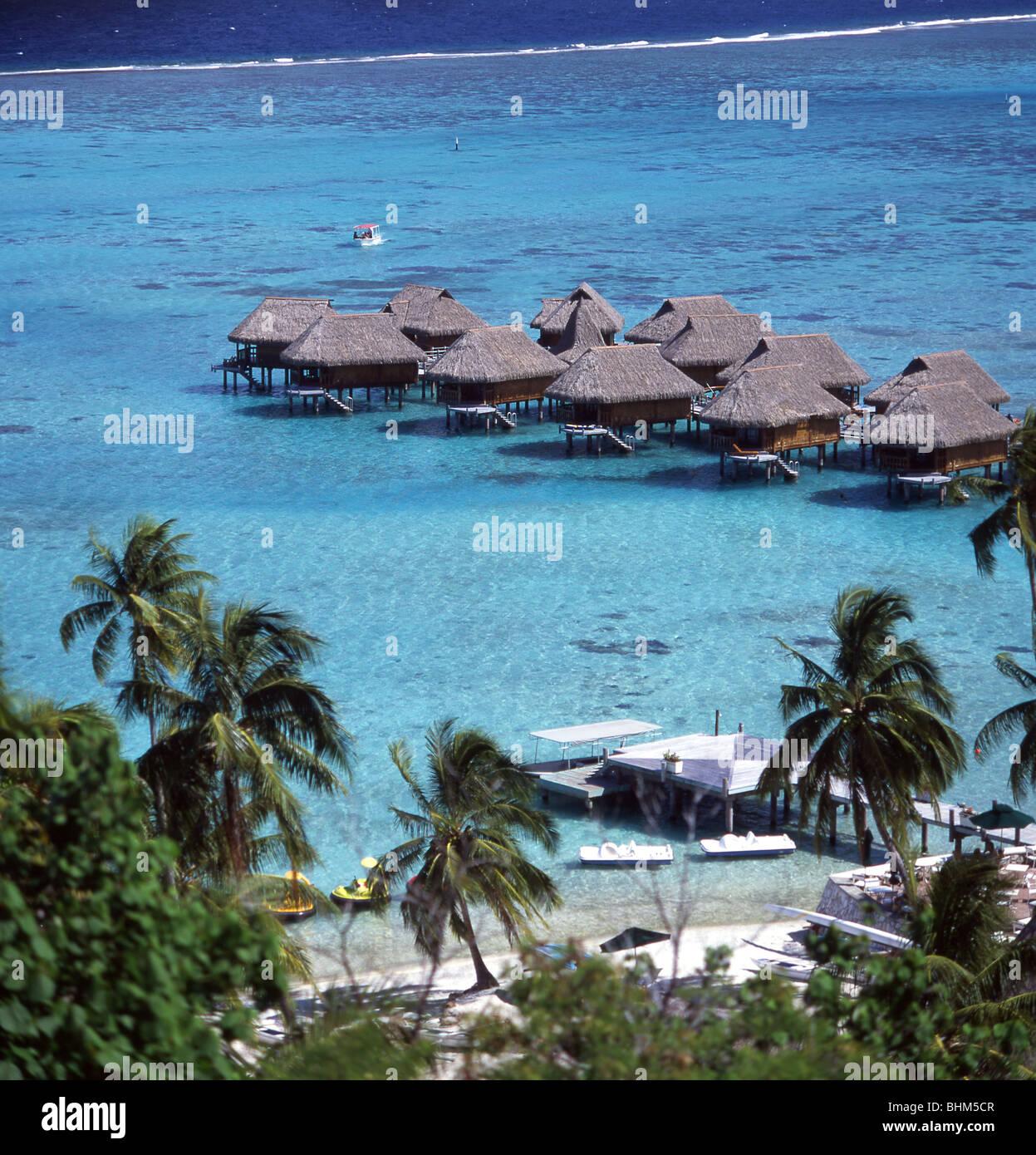 Gentil View Of Cabins Over Sea, Sofitel Hotel, Moorea, Tahiti, French Polynesia