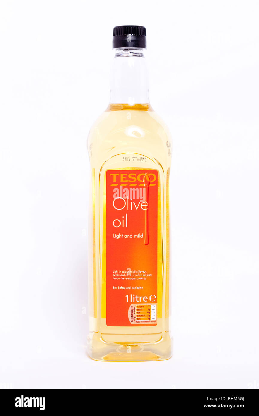 A bottle of olive oil from tesco on a white background - Stock Image