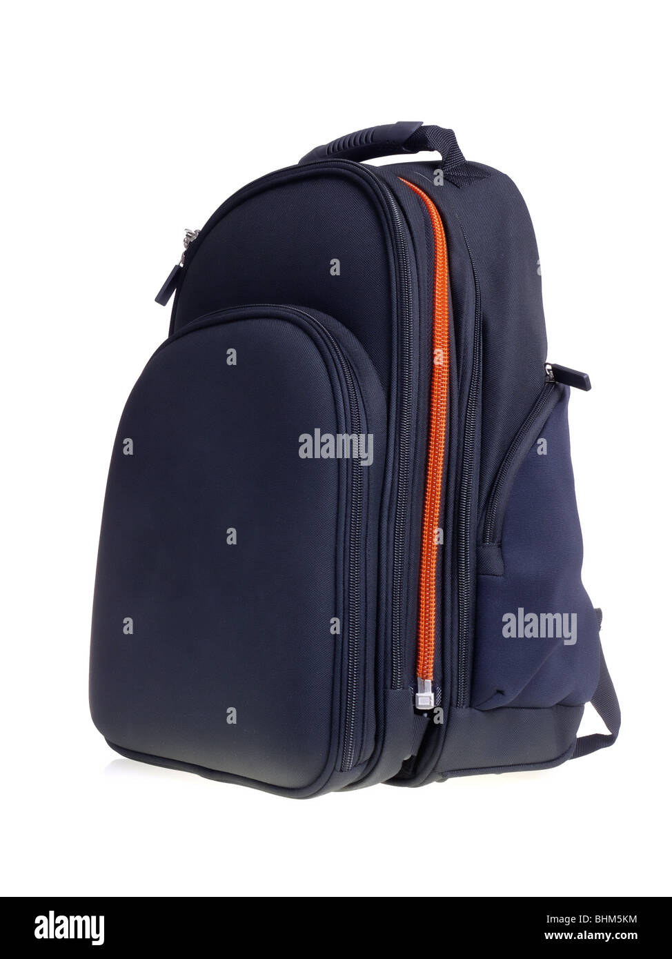 Black backpack shot over white background - Stock Image