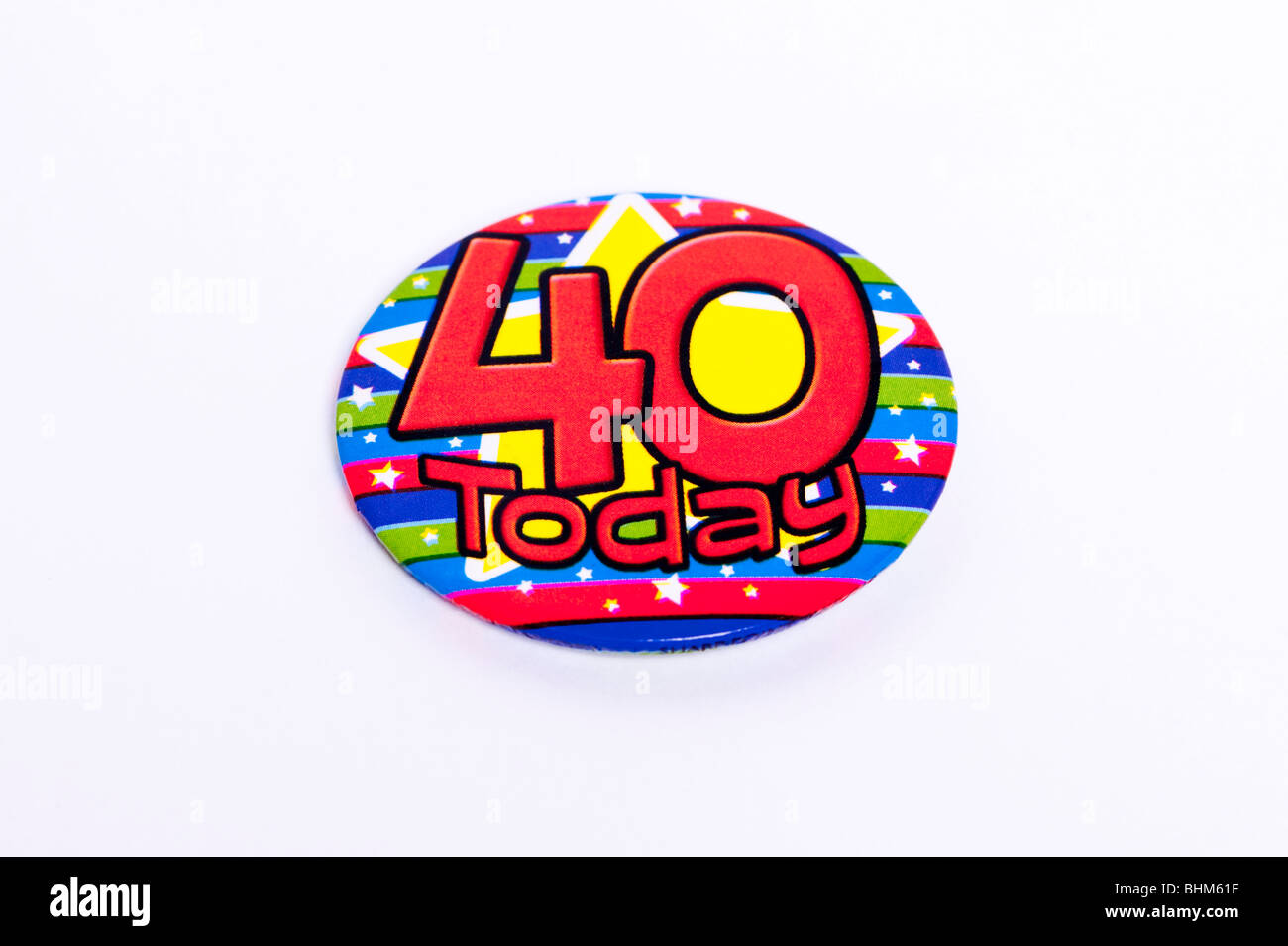 A 40 today badge on a white background - Stock Image