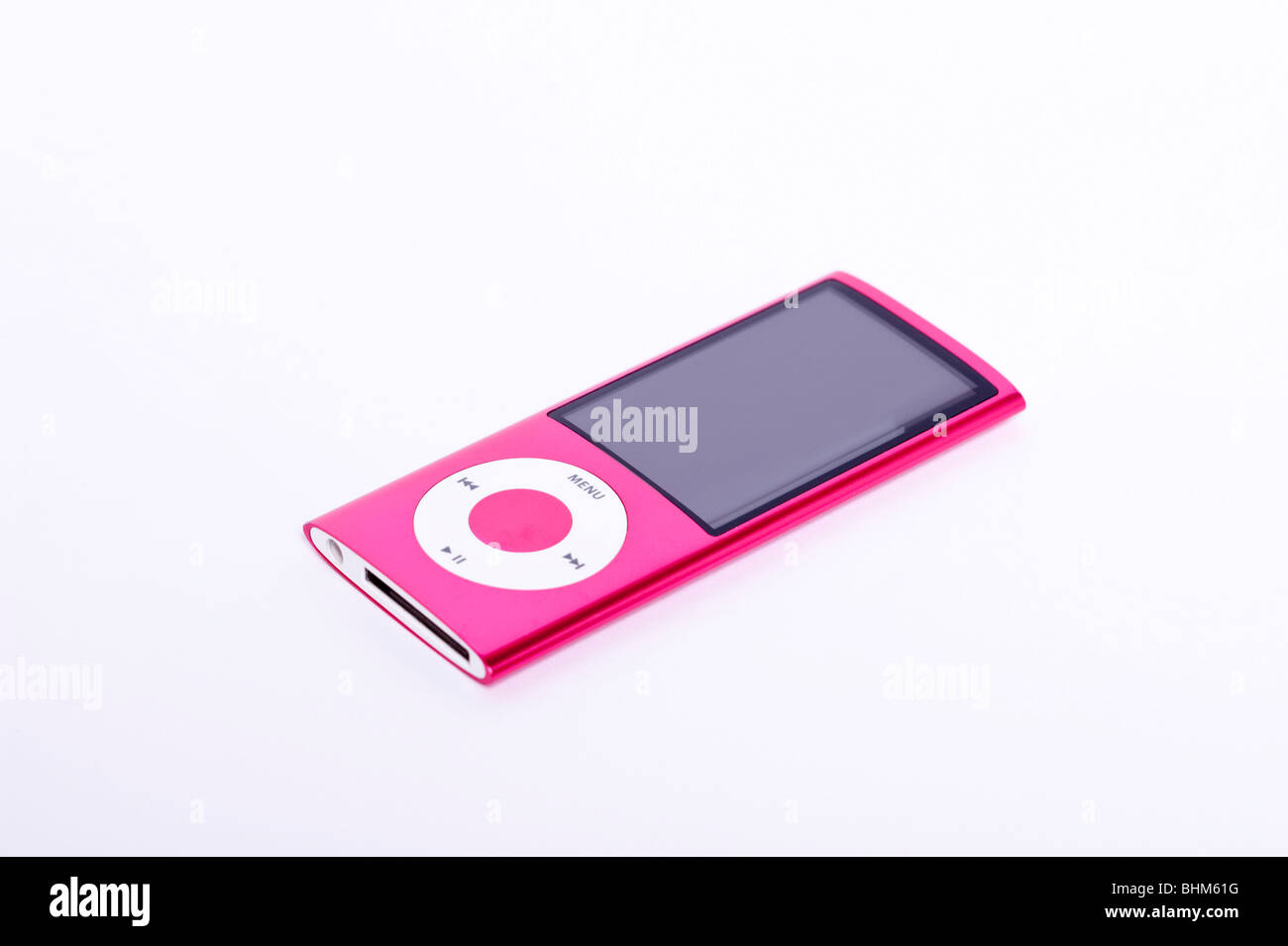 An Ipod Nano 5th generation digital music player with video camera on a white background - Stock Image