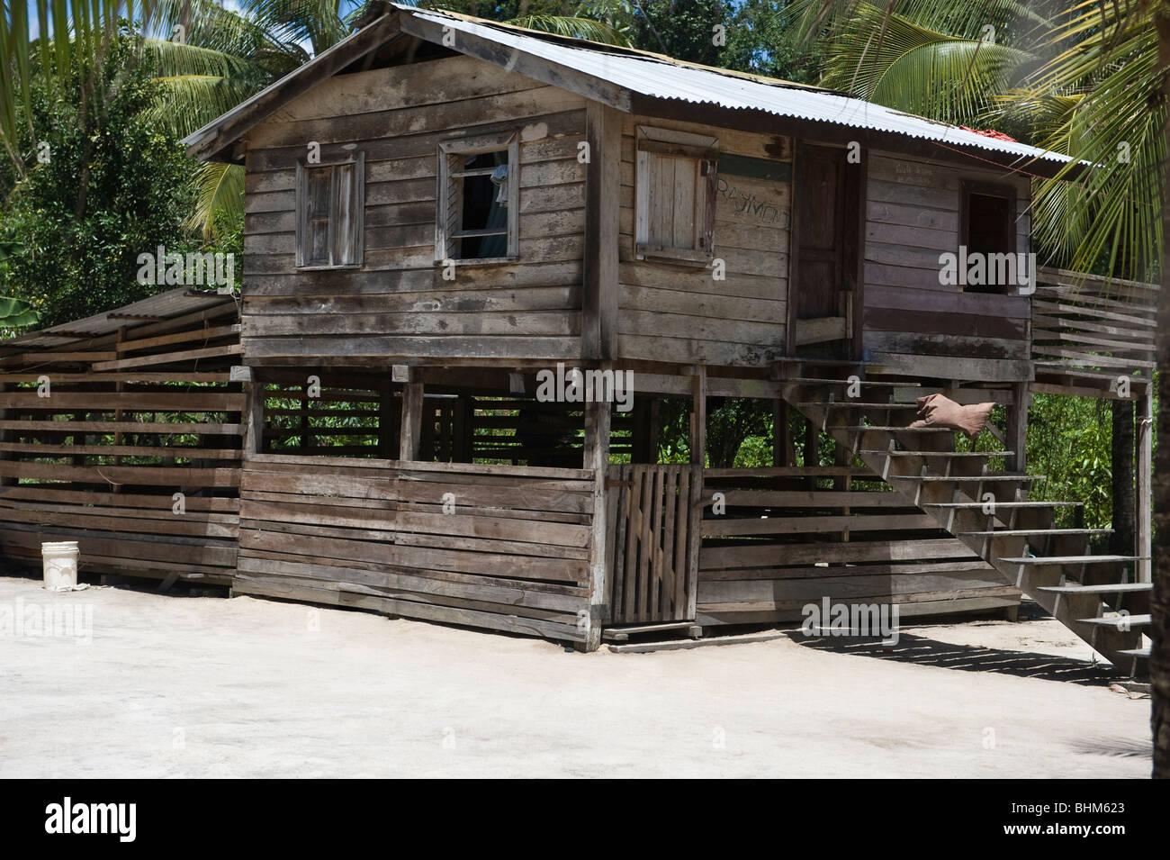 Building in Fair View Village, Kurupukari, Iwokrama Rainforest Guiana Shield Guyana South America October - Stock Image