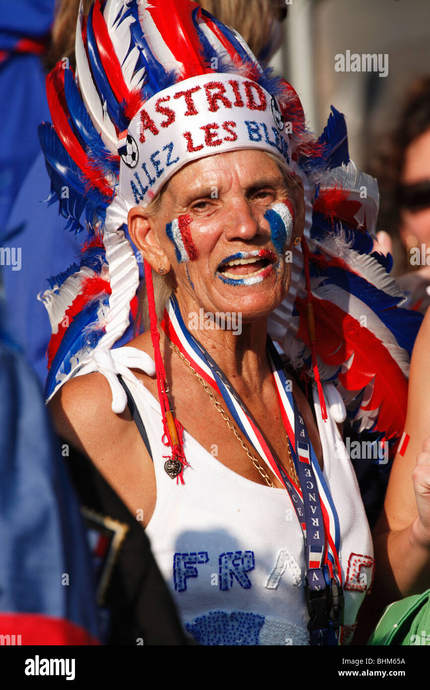 A French supporter in the stands prior to the start of the 2006 FIFA World Cup final between France and Italy July - Stock Image