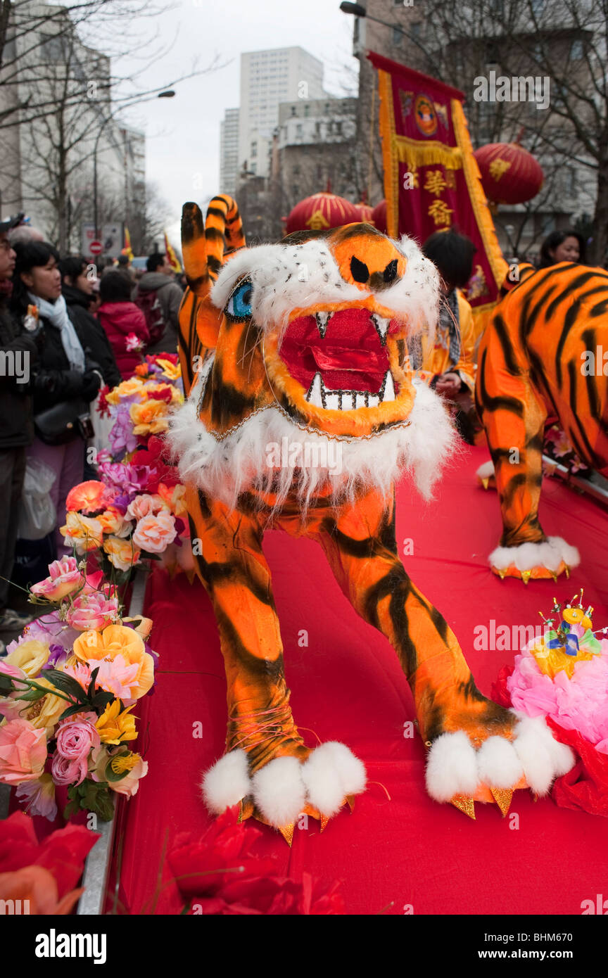 Paris, France, Chinese New Year Carnival, Year of the Tiger, Carnival Float - Stock Image
