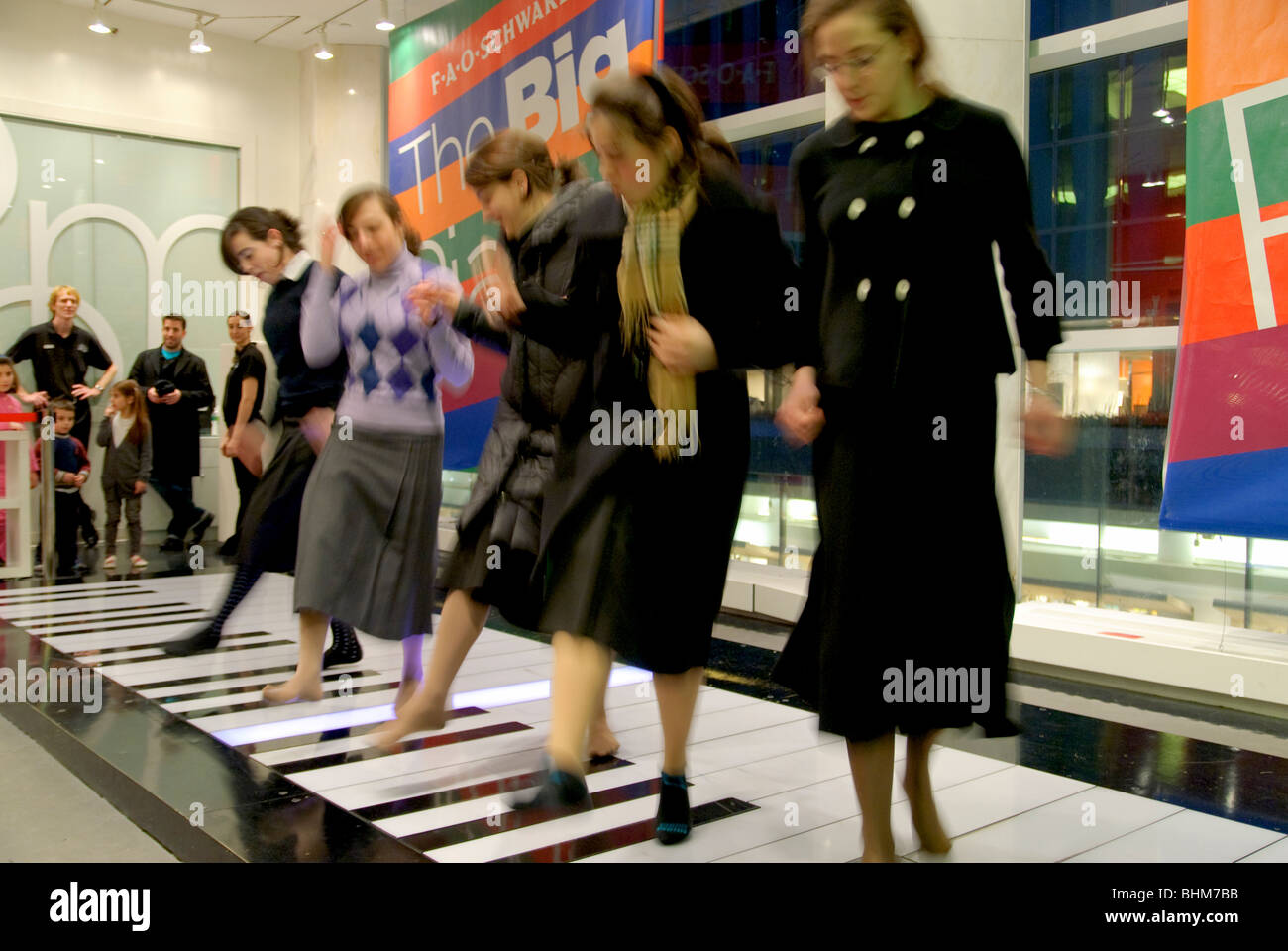 The Big Piano at FAO Schwarz, FAO is located in New York City on 5th Avenue - Stock Image