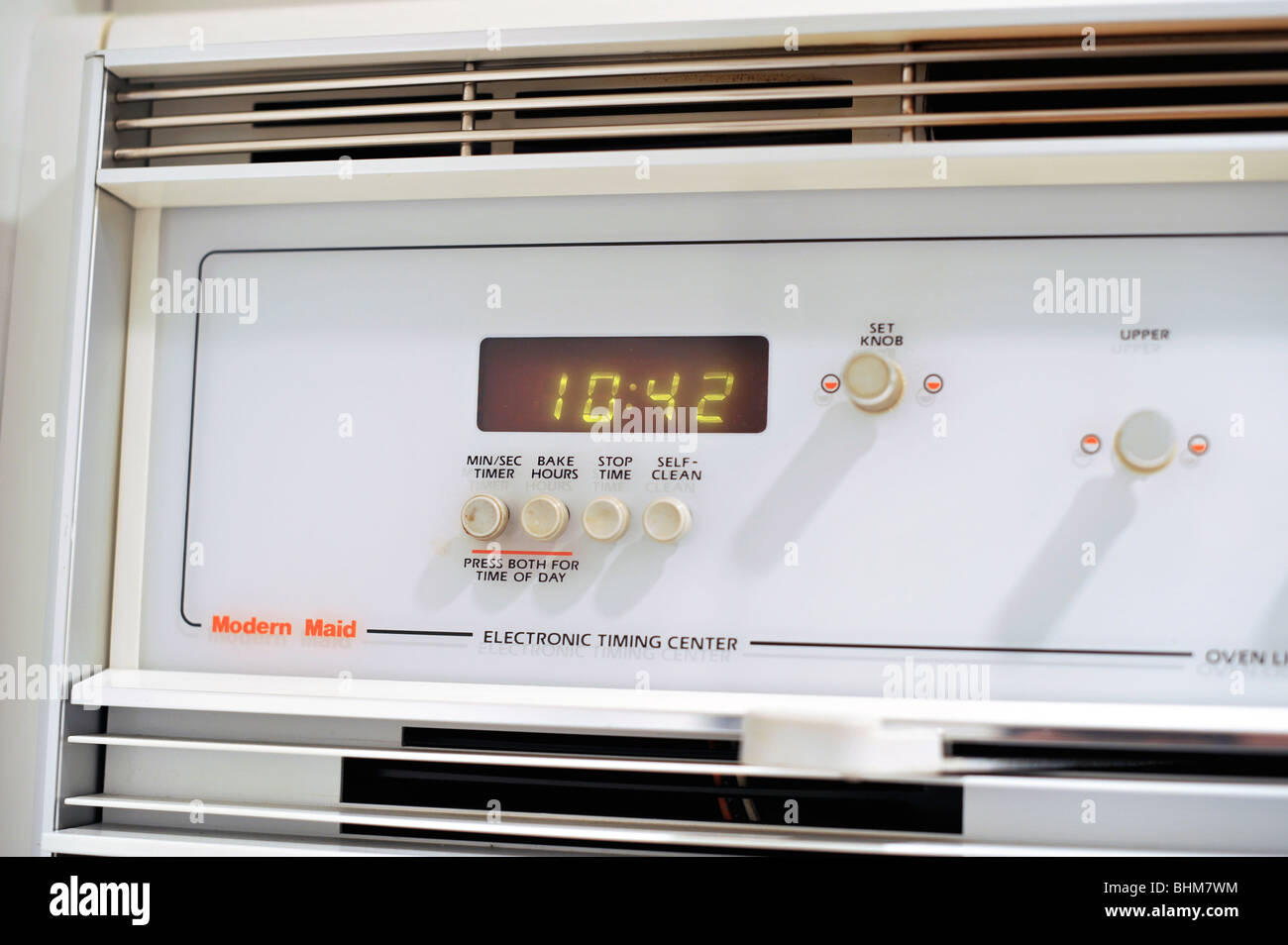 Wall Oven Control Panel with Timer Clock - Stock Image