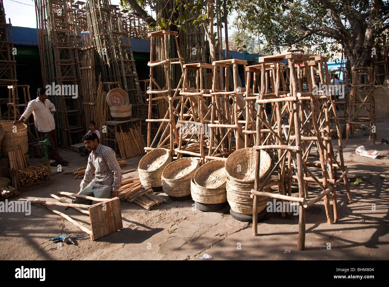 A furniture market in the Rajasthani city of Jodhpur India - Stock Image