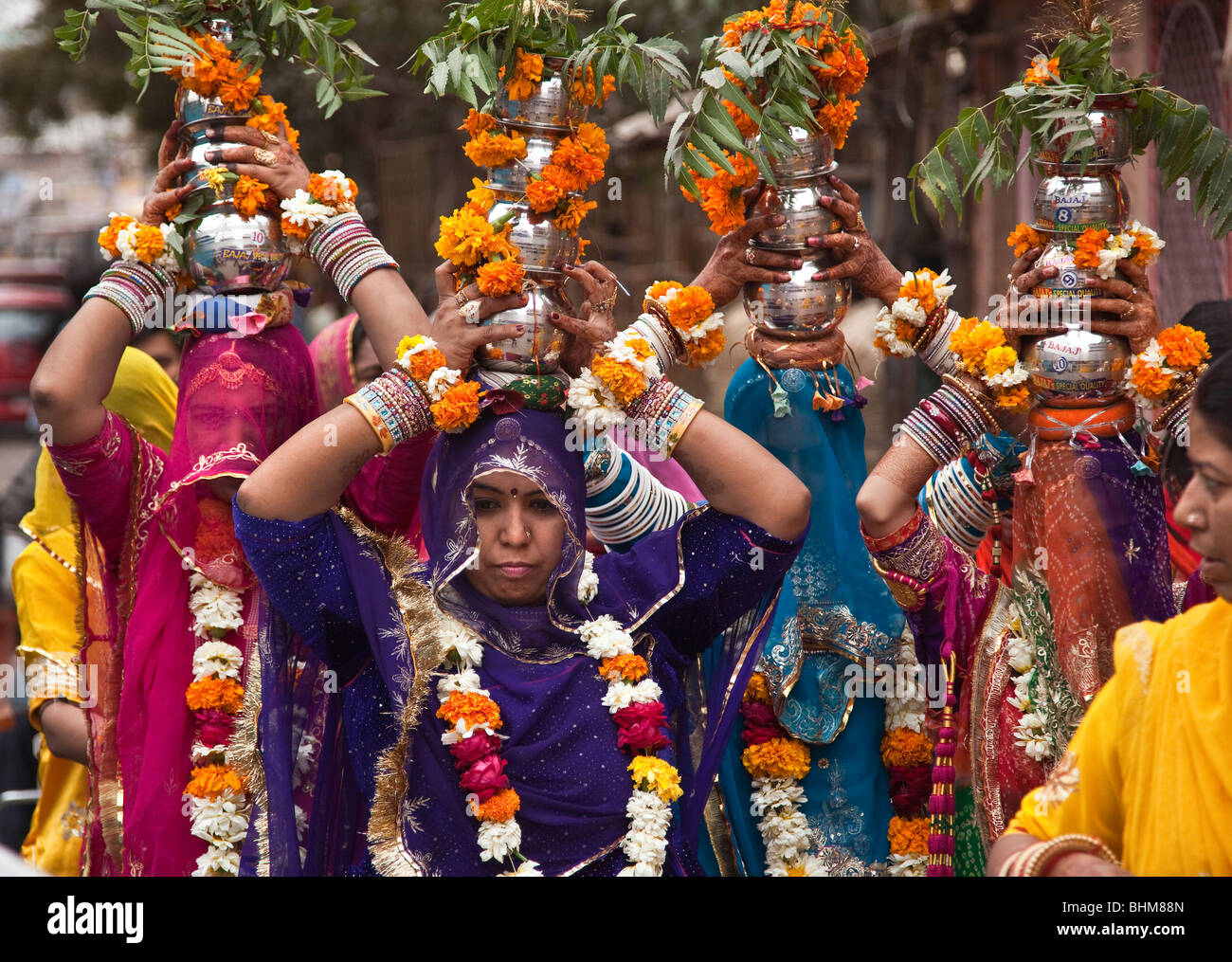 Colourfully Clad Rajput Woman At A Wedding Ceremony The Sardar Bazaar In Centre Of