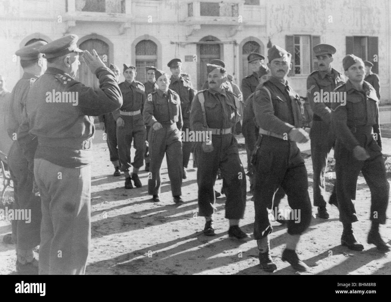 March-past by members of the Jewish Brigade, Tripoli, Libya, 30 January 1943. - Stock Image
