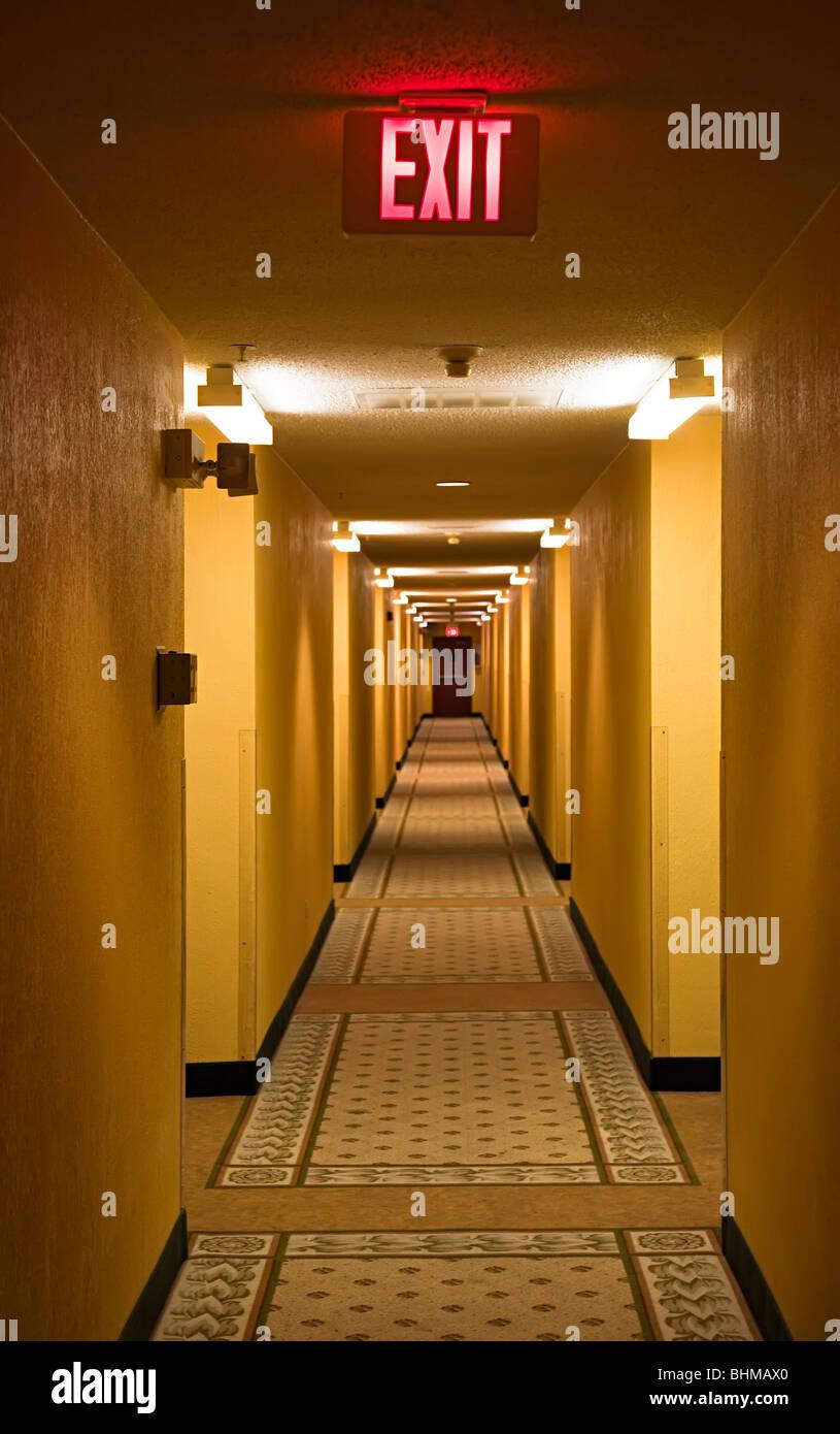 Corridor with exit sign Houston Texas USA - Stock Image