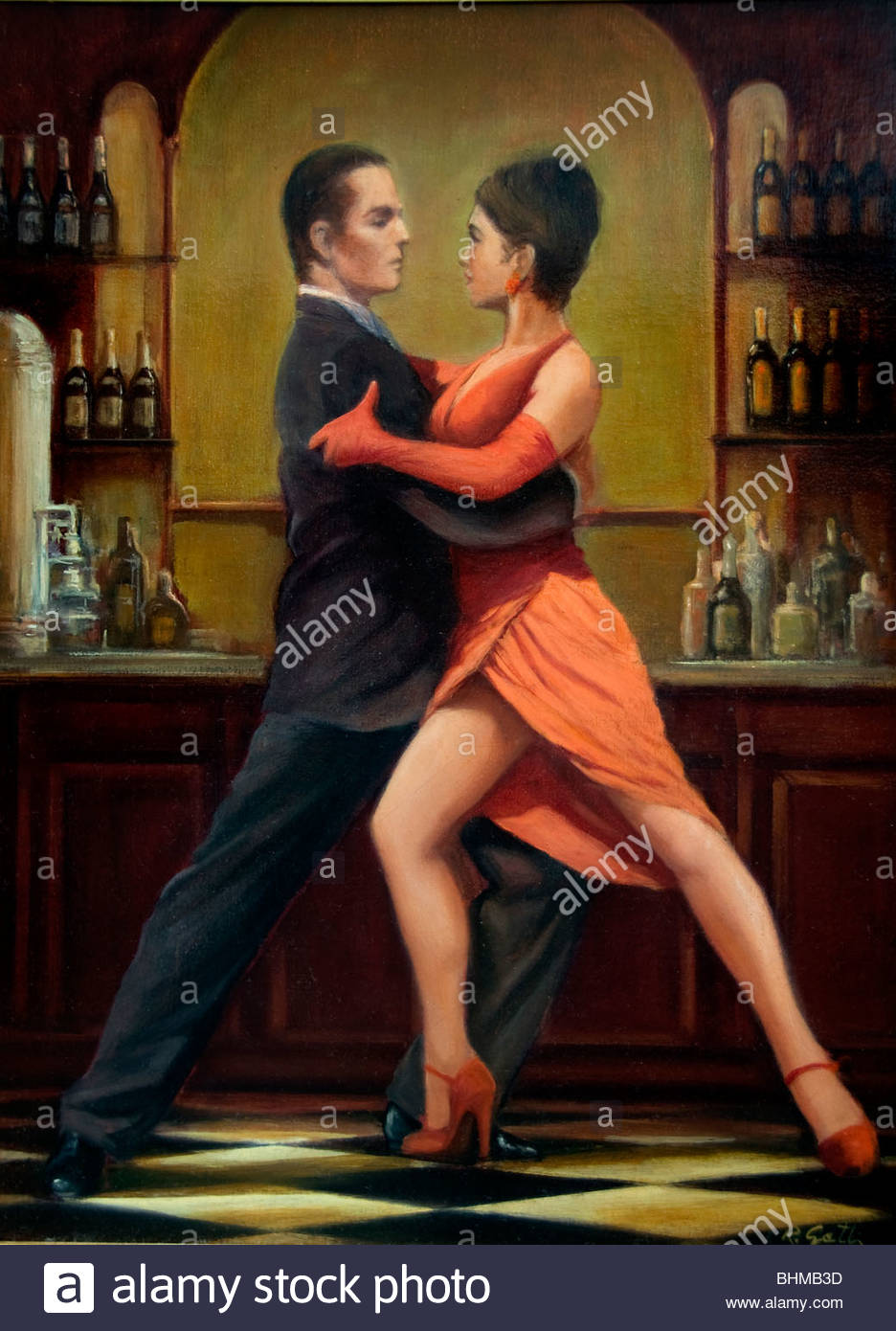 Tango Buenos Aires Argentina La Boca El Caminito Sign street Painting Stock Photo