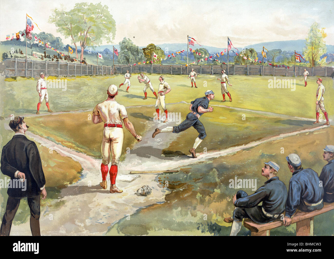 Lithograph colour print c1887 depicting an early game of baseball in the United States of America. - Stock Image