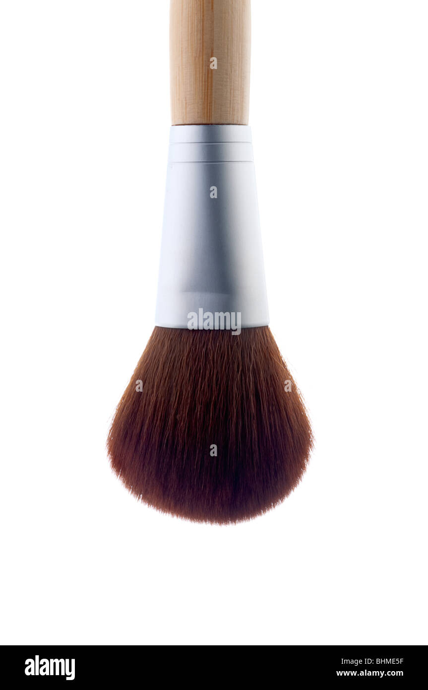 Vertical image of a makeup brush on white Stock Photo