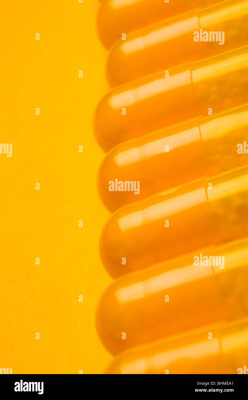 close up of medicine pills - Stock Image
